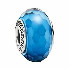 Authentic Pandora  925 ALE #791607 Fascinating Aqua glass Bead Slide charm NWOT