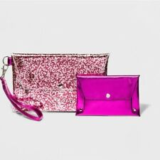 Wild Fable Pink PVC Glitter Wristlet with Coordinating Metallic Clutch NWT