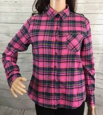Pink Plaid Flannel Shirt Small Long Sleeve Button Down I Love H81 Forever 21 Top