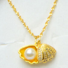 Peanut Pearl Shell Pendant Necklace Chain Women's 24K Yellow Gold Filled Gift