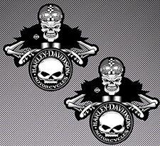 2 Harley Biker Skull Auto Moto Vinyl Stickers Car Helmet Motorcycle Sport B 241
