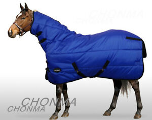 420D 250G Fill Winter Medium Weight Blue Fixed Full Neck Stable Horse Pony Rugs