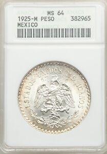 MEXICO ESTADO UNIDOS 1925 CAP & RAYS 1 PESO COIN, CHOICE UNCIRCULATED ANACS MS64