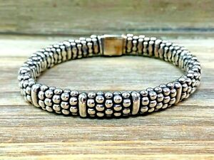 Excellent Lagos Caviar Sterling Silver Bead Rope Bracelet 9mm Wide