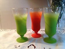 3 Vintage BLENDO Retro Frosted Glass Sundae/Parfait Cups Gold Trim Rims