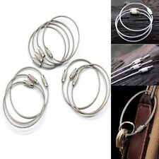 10xoutdoor Stainless Steel Wire Keychain Key Ring Aircraft Cable W/screw Lock UK