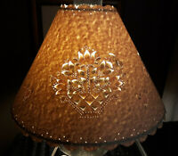 "Vtg Beige Paper Pierced Cut Out Oil Lamp Shade Hurricane Floral 8Tx4x12"" Shabby"