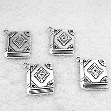 Book spell witchcraft  Tibetan Silver Bead Jewelry Findings,charms Pendants 8pcs