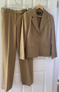 Talbots Tan Wool Flannel Pants Suit 8P Jacket 8 Reg Pants