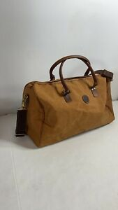 Vintage TIMBERLAND Canvas And Leather Weekender Duffle bag Brown EUC