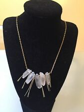 NWOT Clear Quartz Stone And Gold Long Fringe Statement Necklace