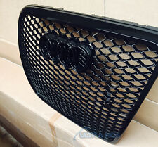 XB GRILLE FOR AUDI A6 S6 RS6 ALL GLOSS BLACK HONEYCOMB 04 - 11 FACELIFT