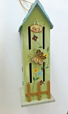 Butterfly House B&B Painted with Appliques New Green Flowers Handmade Wooden