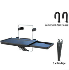 Folding Drawer Car Desk Laptop Steering Wheel Tray Stand w/ Seat Hooks Bandage
