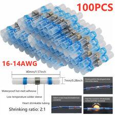 100PC 16-14Ga AWG Electrical Solder Seal Heat Shrink Butt Connectors Solder Blue