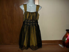 womans dark yellow with black overneted dress from donna bella size small approx