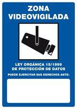 Cartel Pegatina Adhesivo Calcomanía ZONA VIDEOVIGILADA LOPD 15/1999