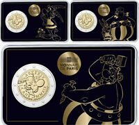 Frankreich 3 x 2 Euro 2019 Asterix Idefix Obelix Münzen in 3 Coincard Motiven