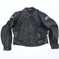 Men's Black Leather AGV Sport Motorcycle Biker Jacket Size 52