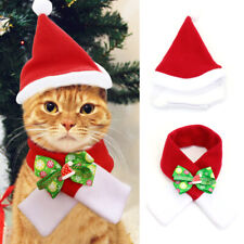 Adjustable Dog Cat Pet Christmas Hat+Scarf Santa Xmas Red Holiday Costume Outfit