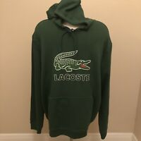 NWT Lacoste Men's Hooded Fleece Sweatshirt Cotton Blend Long Sleeve Hoodie 2XL