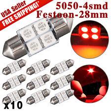10 X NEW Red Festoon 27/28mm DE3022 DE3021 5050 4SMD Car Dome Map LED Light Bulb
