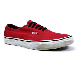 Vans Off the Wall Mens Sz 12 Red Canvas Lace Up Low Top Skate Shoes Sneakers