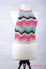 L096/35 Holliste Bright Stripped Openwork Crochet Sleeveless Cropped Top size L