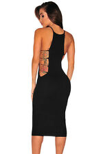 NEW Black Open Sides Cutout Gold Bar Bodycon Fitted Midi Dress Club 8 10 12 14