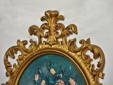 Vtg Homco Large Gold Gilt Scroll Picture Frame Floral Litho Hollywood Regency
