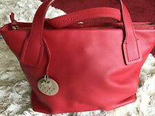 Beautiful Soft Red Leather Radley Bag With Dog Charm And Dust Bag