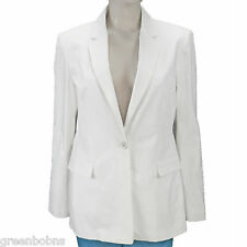 Elie Tahari Ladies White Lined 1-Button Front Notch Lapel Blazer Size 10