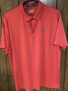under armour mens heat gear polo golf shirt  pink xl