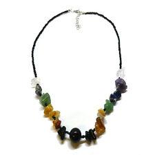 Nero con perline colorate sette chakra Multi COLLANA di cristallo per il bilanciamento del Chakra