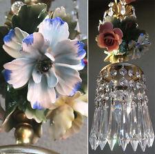 Porcelain Chandelier SWAG lamp Capodimonte Roses Poppy Brass Vintage crystal pr