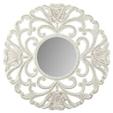 High St XL MDF Wood Carved Circolo 75cm Wall Mirror Hanging Home Decor White