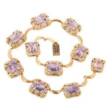 Retro Art Deco 18k Pink Green Gold 111.11ct Amethyst Necklace