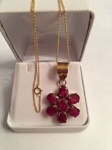 Rough Ruby Sterling Silver Pendant Necklace