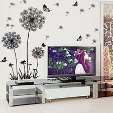 Flowers Dandelion Butterflies Wall Stickers Mural Art  Living Room Sticker