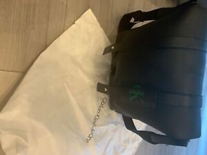 Calvin Klein Leather Bag - Black with Green Logo and Dust Bag