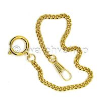 "Vintage Gold Tone Link Pocket Watch Chain 11"" Fob Round Clasp Men Accessory FC21"