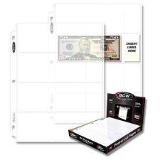 30 BCW 4 Pocket Pages for Regular Dollar Bills - Binder Sheets Currency Storage