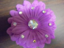 "Beautiful 5"" Purple Flower Bow Hair Clip Accessories added  Rhinestone"