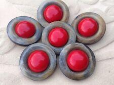 MAXI bottone gioiello ANNI 70 CORNO ROSSO vintage BUTTON BOUTON