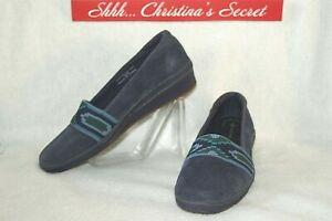 GRASSHOPPERS Womens Loafers Shoes Purefit Comfort Cushion Blue Suede Sz 7.5 W
