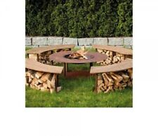 Foyer de Cheminée Circle avec 4 Bancs et Barbecue Métal à Charbon Bois