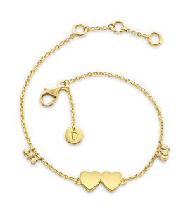 Daisy London Jewellery NEW! 18ct Gold Plated Double Heart Good Karma Bracelet