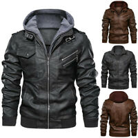 Men's Faux Leather Jacket Winter Hoodie Warm Thick Windproof Coat S-3XL Fashion