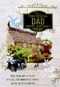"""Traditional Country Cottage & Retro Car """"SPECIAL DAD"""" Birthday Card"""