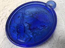 Blue Vaseline uranium glass Christ Medallion Christmas ornament sun catcher tree